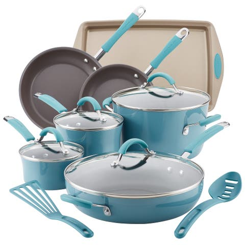 Rachael Ray Cucina Hard Porcelain Enamel Nonstick Cookware Set, 13pc