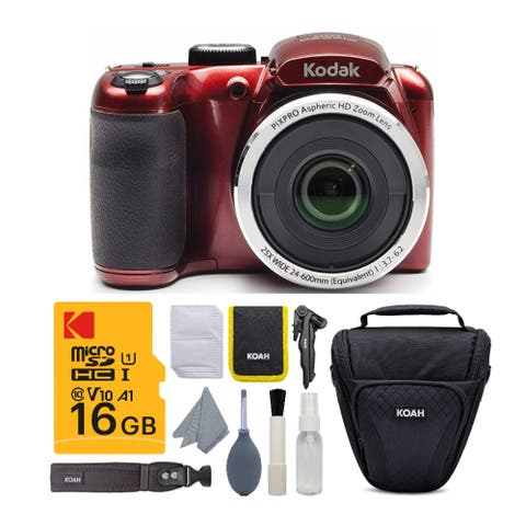 Kodak PIXPRO AZ252 Astro Zoom Digital Camera (Red) w/ 16GB Card Bundle