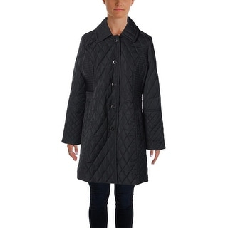 Anne Klein Womens Diamond Quilt Snap Closure Jacket - L