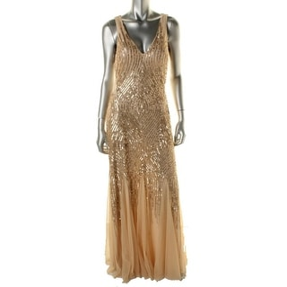 Adrianna Papell Womens Mesh Inset Sequined Formal Dress