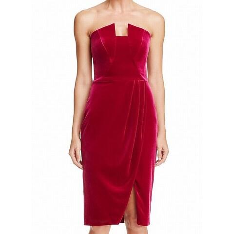 Black Halo Women's Velvet Strapless Sheath Dress