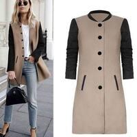 Fashion Womens Slim Jacket Long Coat +Gift Necklace