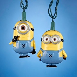 Set of 10 Despicable Me Minions Dave and Carl Novelty Christmas Lights - Green Wire