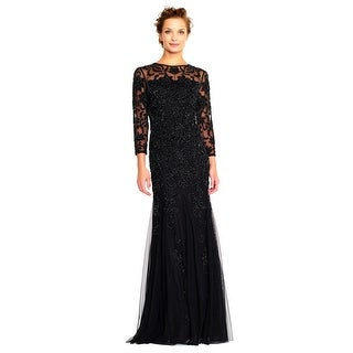 Adrianna Papell Sheer Three Quarter Sleeve Beaded Gown with Godet Skirt