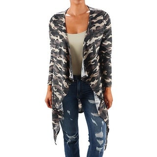 Funfash Plus Size Women Camo Black Kimono Duster Cardigan Sweater Coat