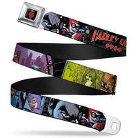 Harley Quinn Diamond Full Color Black Red Harley Quinn Comic Book Cover Seatbelt Belt