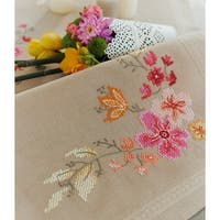 """Pink Flowers Table Runner Stamped Cross Stitch Kit-16""""X40"""""""