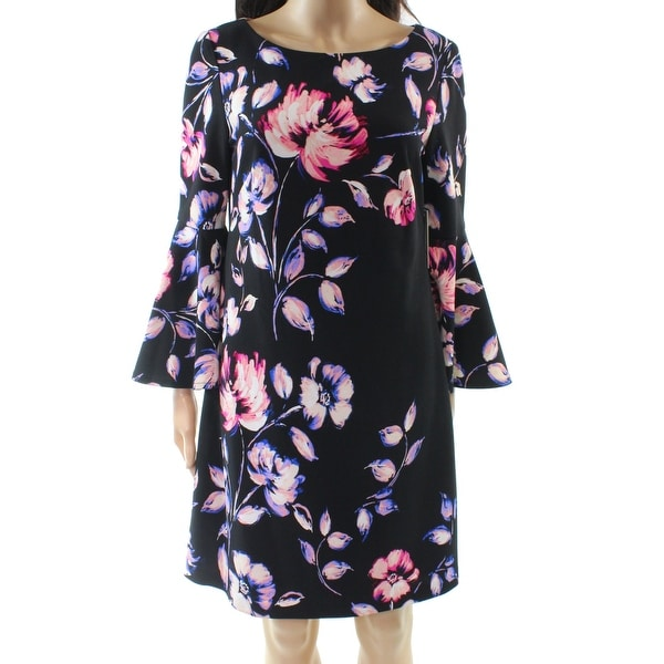 bcdd23d0 Shop Eliza J Black Women's Size 8 Floral Print Bell-Sleeve Sheath Dress -  Free Shipping On Orders Over $45 - Overstock.com - 27051053