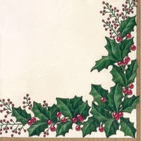 Club Pack of 432 Red and Green Holly Berries Disposable Beverage Napkins 5""
