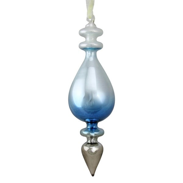 "8"" Winter's Beauty Sky Blue Ombre Glass Finial Christmas Ornament Decoration"