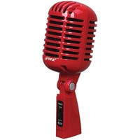 PYLE PRO PDMICR42R Classic Retro-Style Dynamic Vocal Microphone (Red)