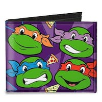 """Classic Tmnt Faces + I """"Pizza Heart"""" Tmnt Purple Pizza Canvas Bi Fold Wallet One Size - One Size Fits most"""