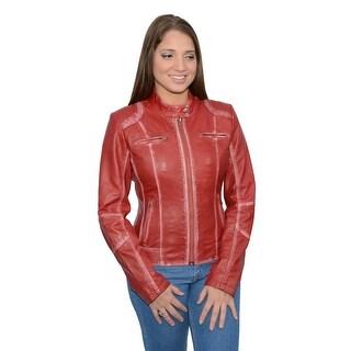 Women's Sheepskin Leather Scuba Style Motorcycle Jacket