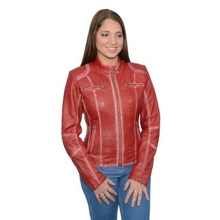 Women's Sheepskin Leather Scuba Style Motorcycle Jacket (More options available)