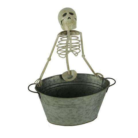 Metal Skeleton Beverage Tub Halloween Drink Cooler Bucket - 18.25 X 14.75 X 9.5 inches
