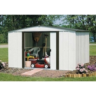"Arrow Newburgh Galvanized Steel Shed 10' x 8' with 60"" Wall Height With doors / NW108-A"