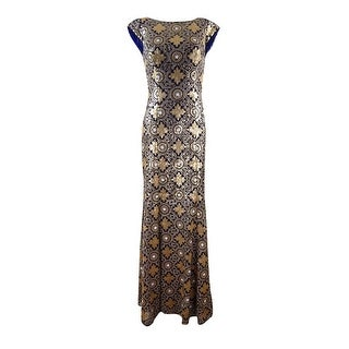JS Collections Women's Illusion Pattern Sequined Gown - 4