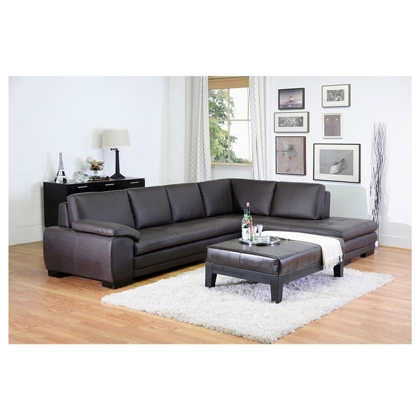 Shop Diana 2pcs Dark Brown Leather Sectional Sofa Chaise Free