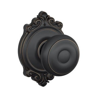 Schlage F10-GEO-BRK Passage Georgian Door Knobset with the Decorative Brookshire Rose