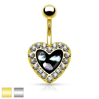 Crystal Paved Heart with Mother of Pearl Inlaid Center 316L Belly Button Rings