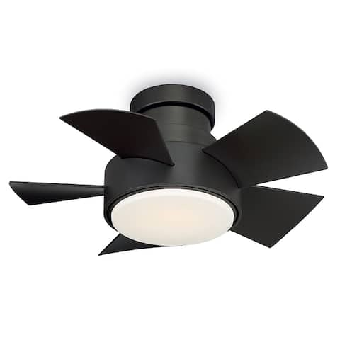 Vox 26 Inch Five Blade Indoor / Outdoor Smart Flush Mount Ceiling Fan with Six Speed DC Motor and LED Light.