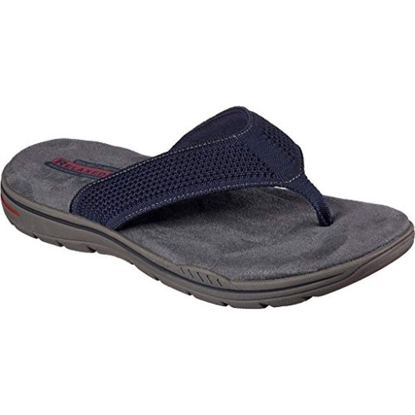 286fbf7817ba26 Shop Skechers Relaxed Fit Evented Borte Mens Flip Flops Navy 8 - Free  Shipping Today - Overstock.com - 25631709