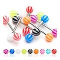 Surgical Steel Barbell with Candy Stripe UV Ball (Sold Individually) - 14 GA - Thumbnail 0