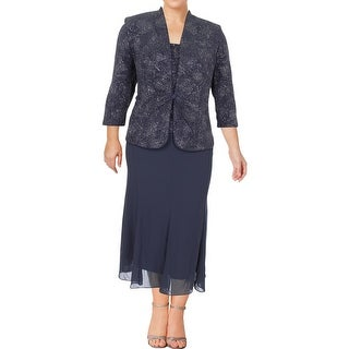 Alex Evenings Womens Plus Dress With Jacket Glitter 2PC