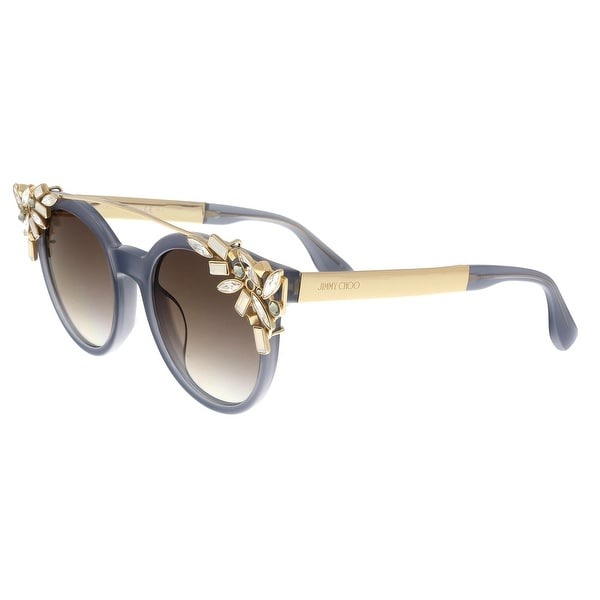 f8c94800d48 Shop Jimmy Choo VIVY S 0PR7 Grey Gold Opal Round Sunglasses - no ...