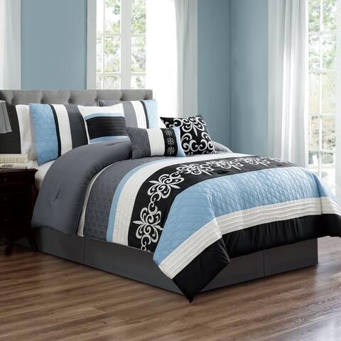 Porch & Den Jeanette Blue/Grey Microfiber 7-piece Comforter Set