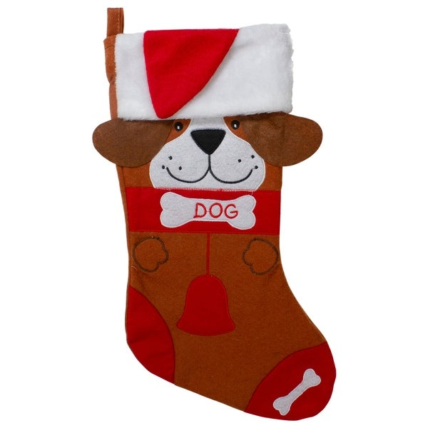 """17"""" Red and Brown """"DOG"""" Embroidered Christmas Stocking with Cuff. Opens flyout."""