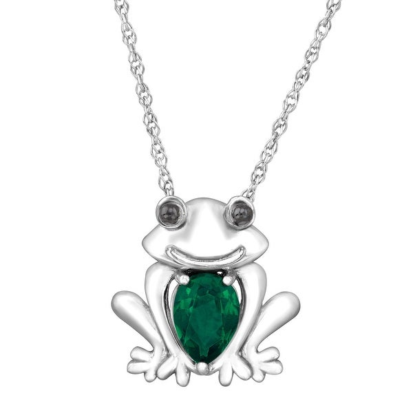 5/8 ct Created Emerald Frog Pendant in Sterling Silver - Green