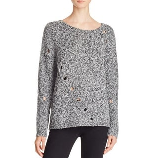 Aqua Womens Grace Pullover Sweater Wool Blend Marled