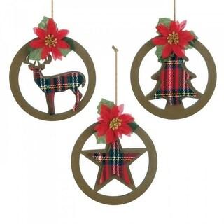 Plaid Silhouette Ornament Set for Christmas