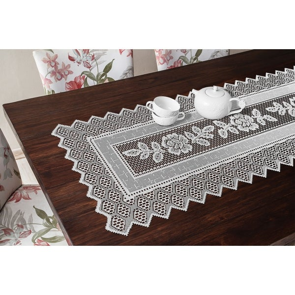 Table Runner Grega Design Brazilian Lace 19x62 Inches White Color 100 Percent Polyester
