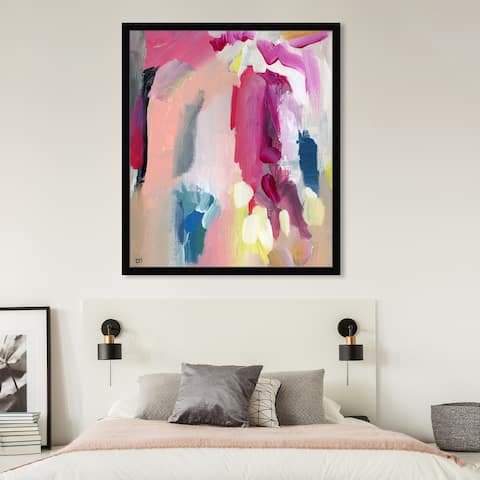 Oliver Gal ' Raibow' Abstract Wall Art Framed Print Paint - Pink, Yellow