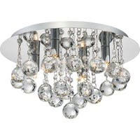 "Platinum BRX1614 Bordeaux 4 Light 14"" Wide Flush Mount Ceiling Fixture with Crystal Accents"