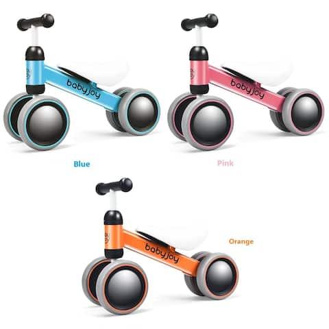 Babyjoy 4 Wheels Baby Balance Bike Children Walker No-Pedal Toddler Toys Rides PinkBlueOrange