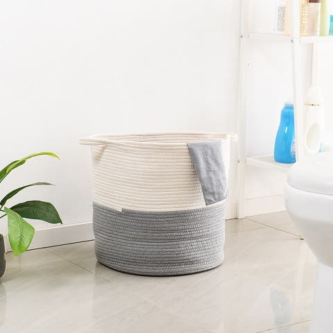 Woven Rope Basket with Handles, Laundry Basket, Cotton Storage Basket