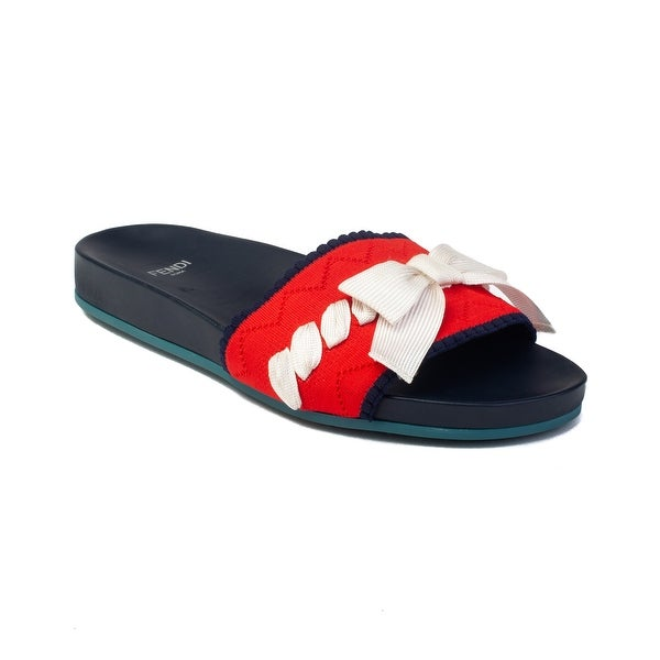 03a7b99b8 Shop Fendi Women's Rubber Slide Sandal Bow Navy Red Shoes - Ships To ...