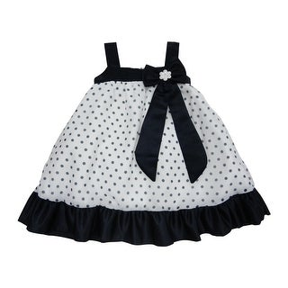 Little Girls Navy Ribbon Bow Brooch Polka Dotted Flower Girl Dress
