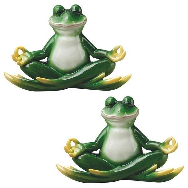 Design Toscano Strike a Pose Zen Yoga Frog Statues: Set of Two