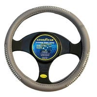 """Goodyear Dia 14.5-15.5"""" Black Leather Grey Suede Steering Wheel Cover SWC-1320"""