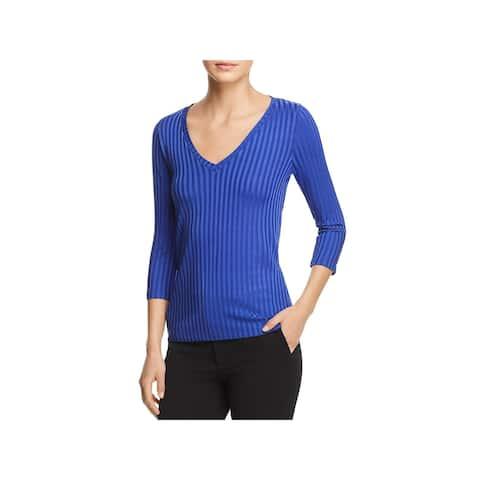 BOSS Hugo Boss Womens Etrica Pullover Top Textured Stripe V-Neck