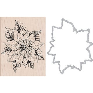 Hero Arts Mounted Rubber Stamp & Die Combo-Poinsettia