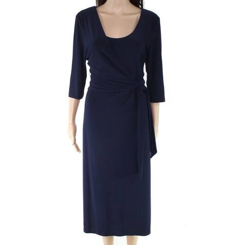 Lauren By Ralph Lauren Womens Midi Dress Blue 14 Faux-Wrap Side-Tie