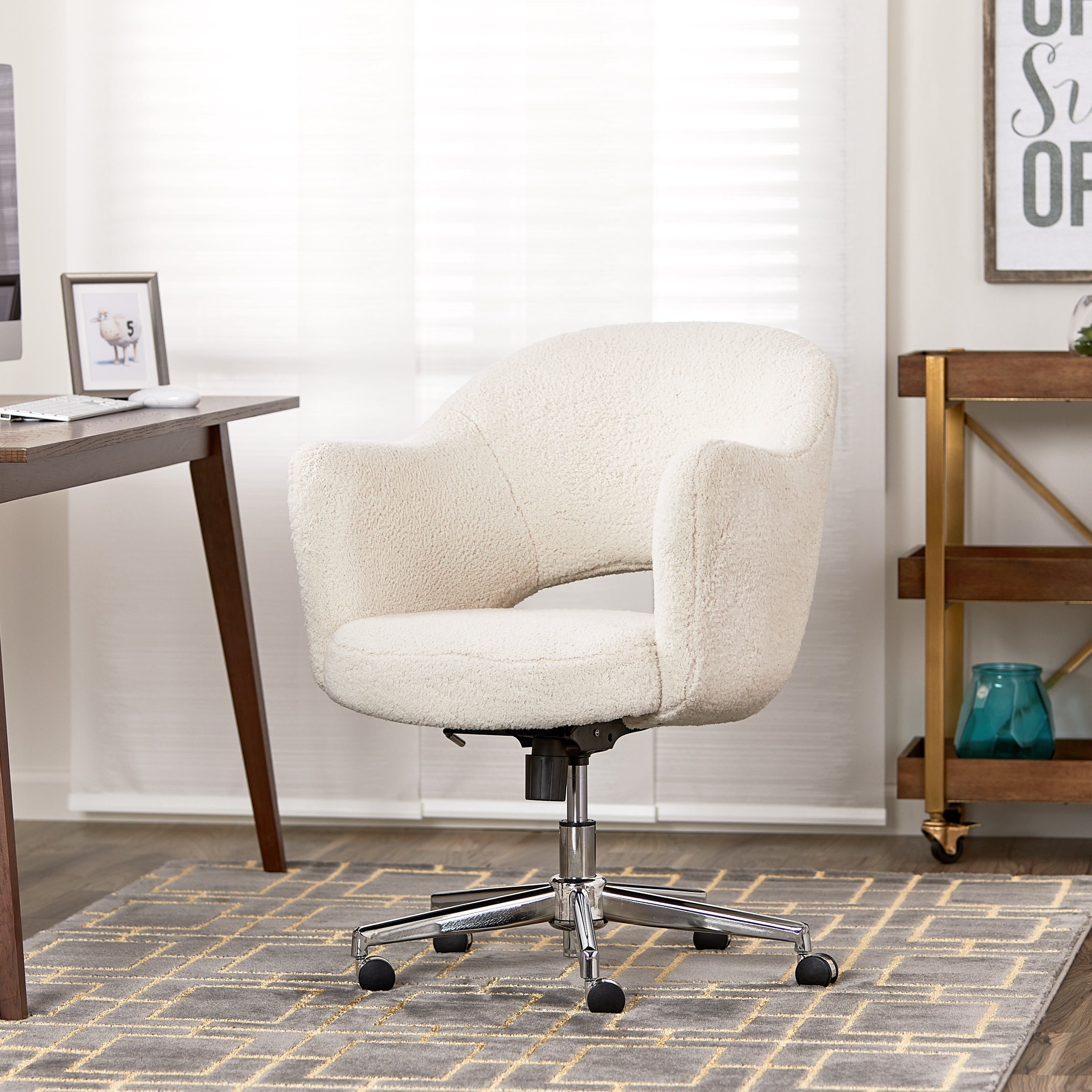 Shop Serta Style Valetta Home Office Chair Faux Shearling Wool On Sale Overstock 25722812