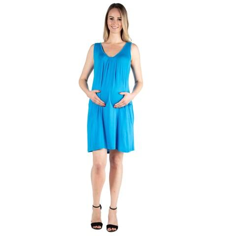 24seven Comfort Apparel Short Sleeve Maternity Knee Length Dress