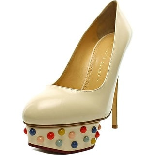 Charlotte Olympia Dolly Studs Women Round Toe Leather White Heels