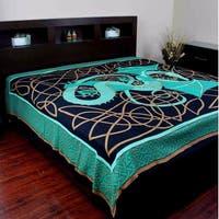 Cotton Celtic Dragon Tapestry Wall Hanging Tablecloth Bedspread Dorm Decor Beach Sheet Red Green & Blue in Twin & Full